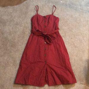 Red midi sun dress